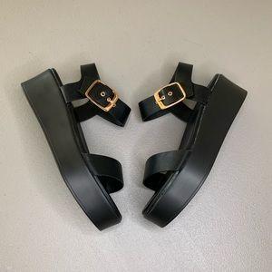 Bamboo Black Platform Sandals 8 Size Leather